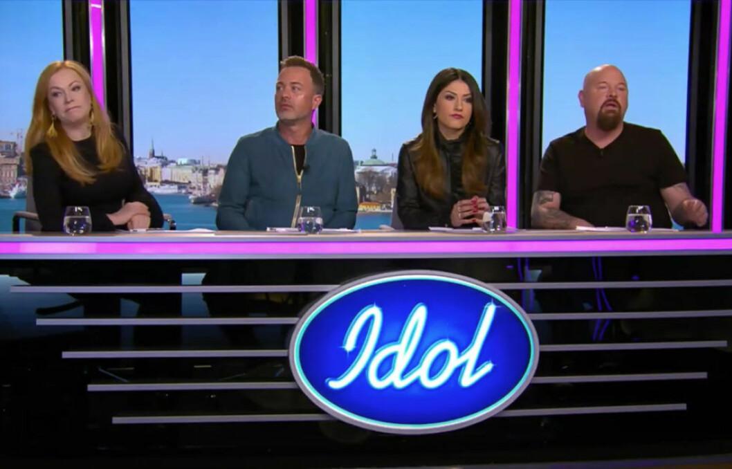 Nikki Amini tillsammans med kollegorna Kishti Tomita, Alexander Kronlund och Anders Bagge från 2018-års upplaga av Idol.