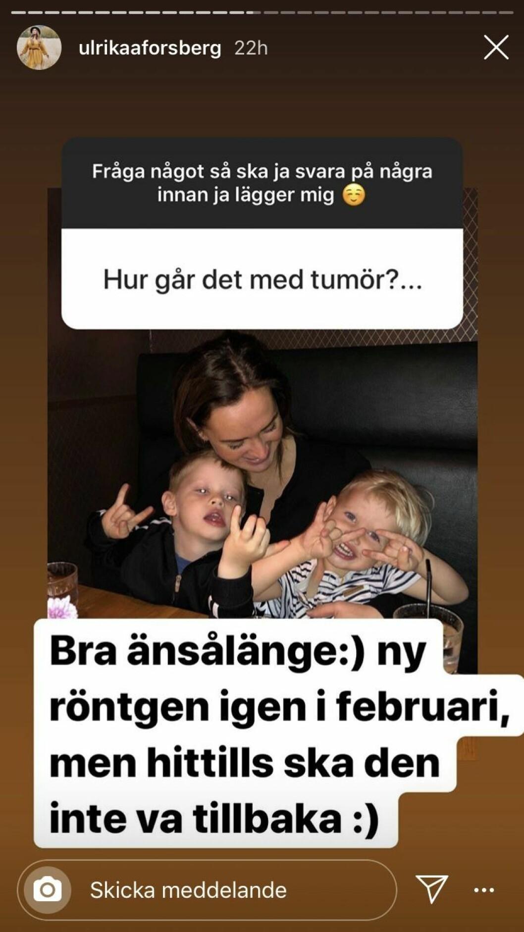 Ulrika Forsbergs svar om tumören