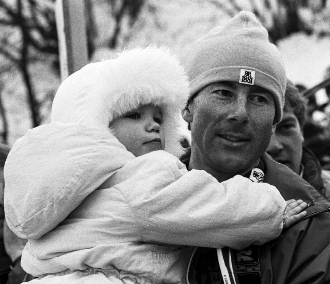 Ingemar Stenmark och Nathalie Stenmark bebis