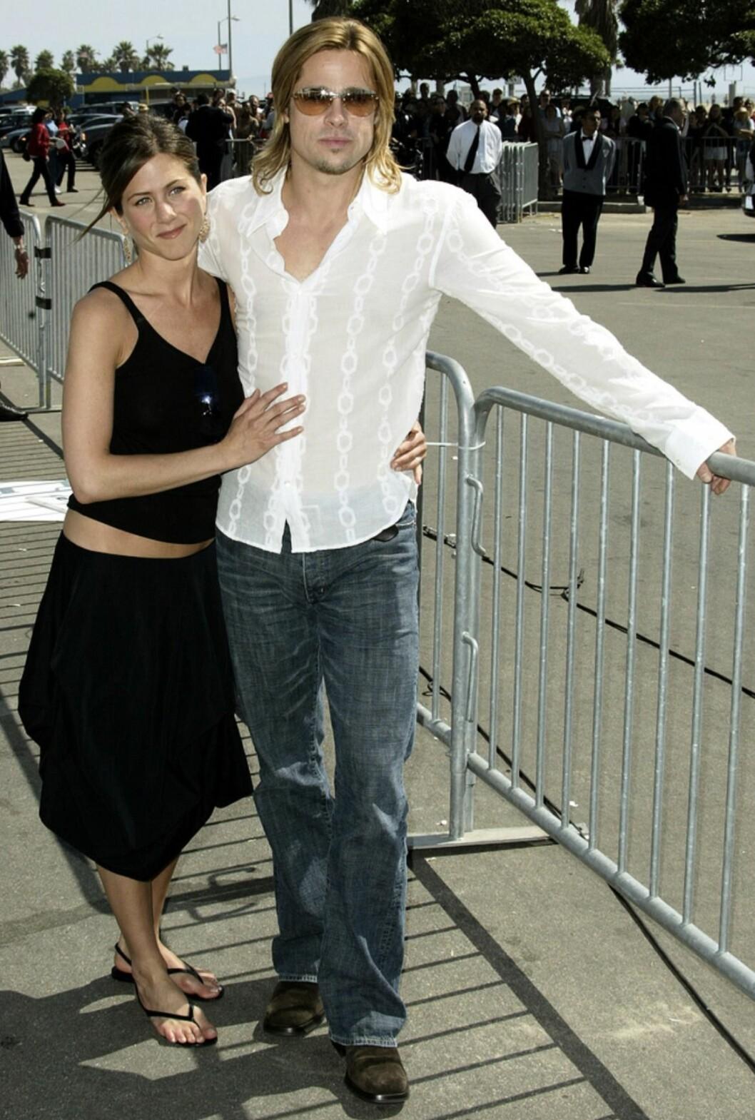 En vacker bild på Jennifer Aniston och Brad Pitt från deras tid tillsammans som ett par.