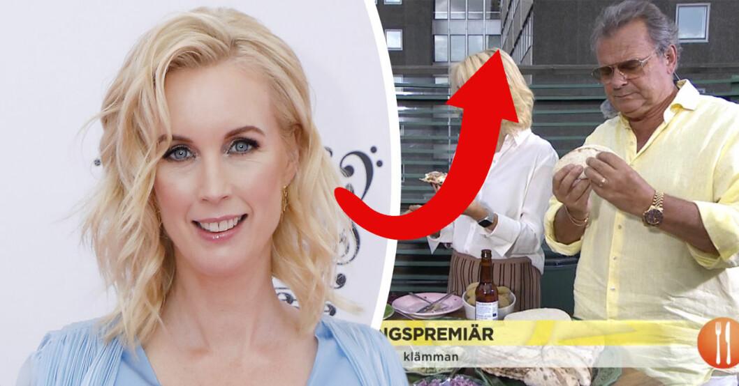 Jenny Strömstedts visar upp nya utseendeförändringen i TV4:s Nyhetsmorgon.