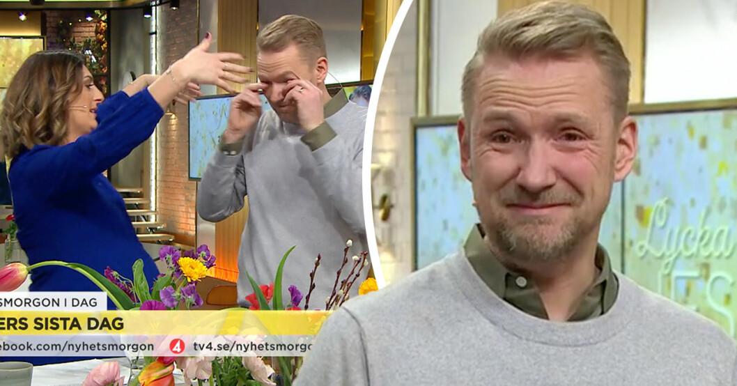 Jesper Börjesson i tårar – efter TV4-kollegornas starka avsked