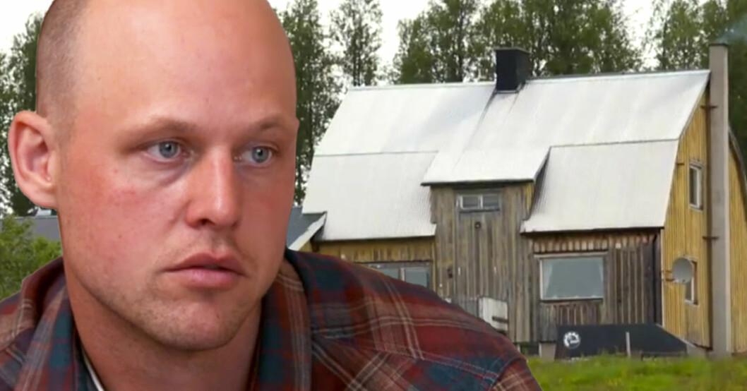 Jimmy Olofsson och huset i Ankarvattnet.