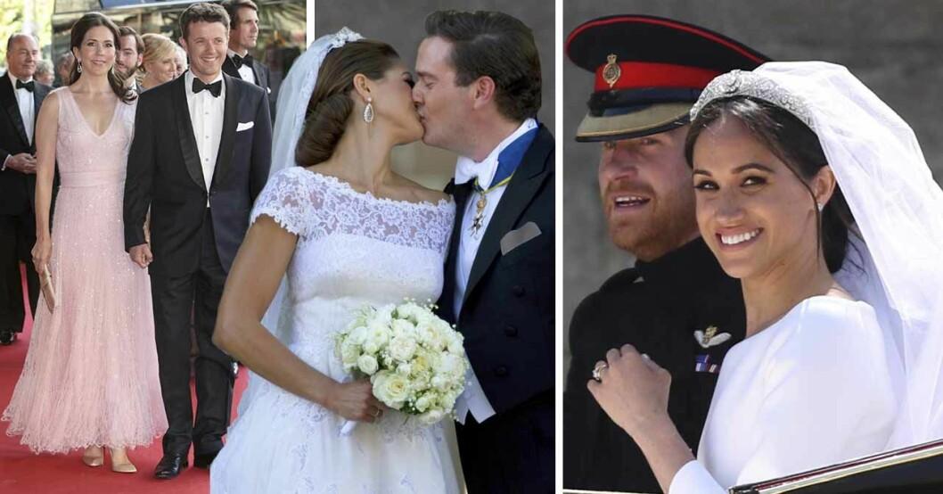 Meghan Markle ler i sin bröllopsklänning