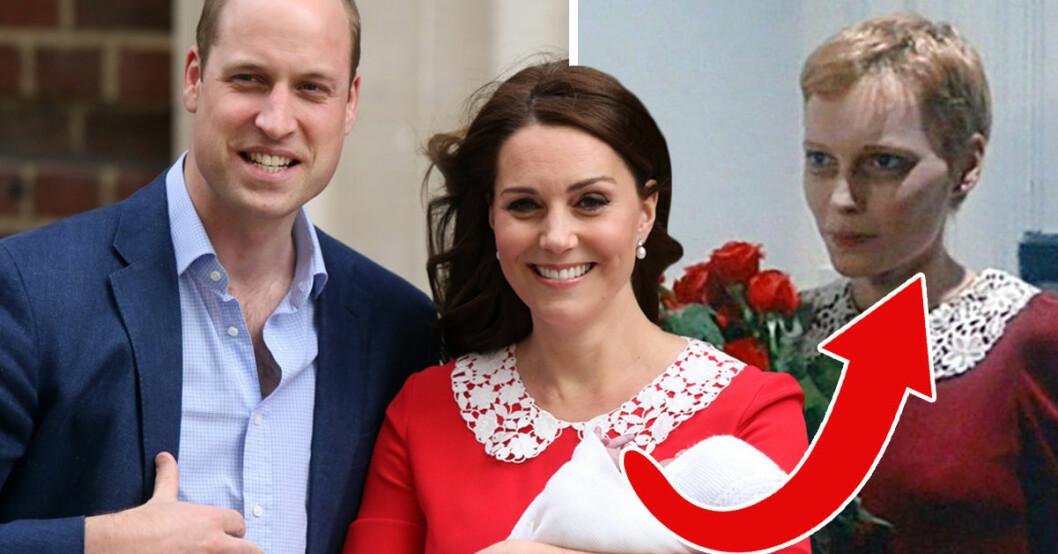 Kate Middleton bar en liknande röd klänning som Mia Farrow hade i skräckfilmen Rosemary's baby från 1968.