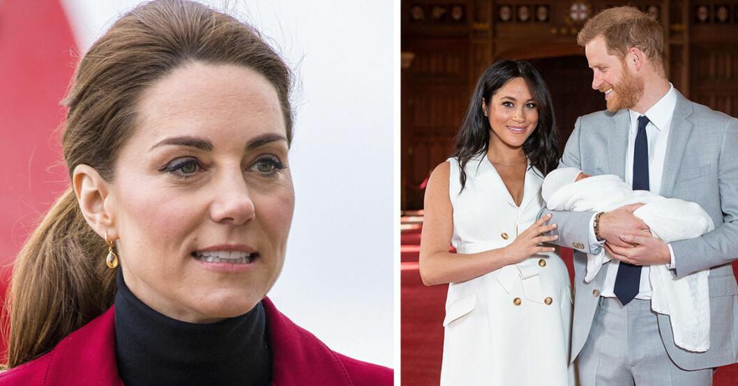 Kate Middleton bredvid en bild på när Meghan Markle och prins Harry visade upp sonen Archie för första gången.