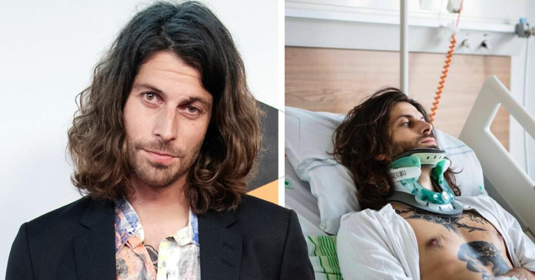Klas Beyer akut till sjukhus efter otäck olycka