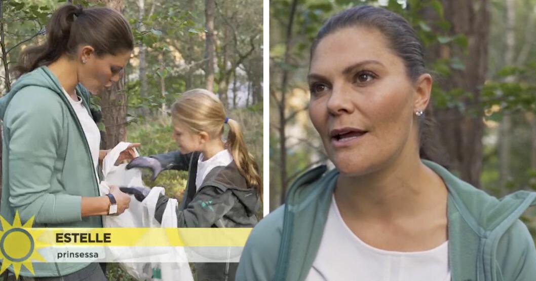 Kronprinsessan Victoria och prinsessan Estelle plockar skräp i TV4:s Nyhetsmorgon.