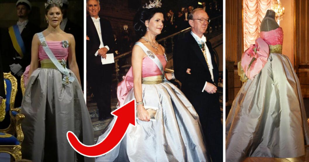 För Elle berättar drottning Silvia nu om kronprinsessan Victorias klädlång under Nobelbanketten, en klänning av Nina Ricci.