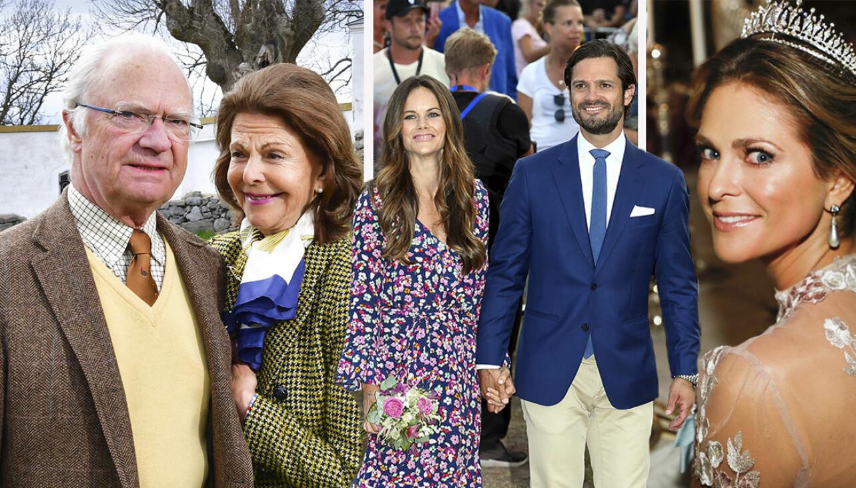 De svenska kungligheterna ler mot kameran