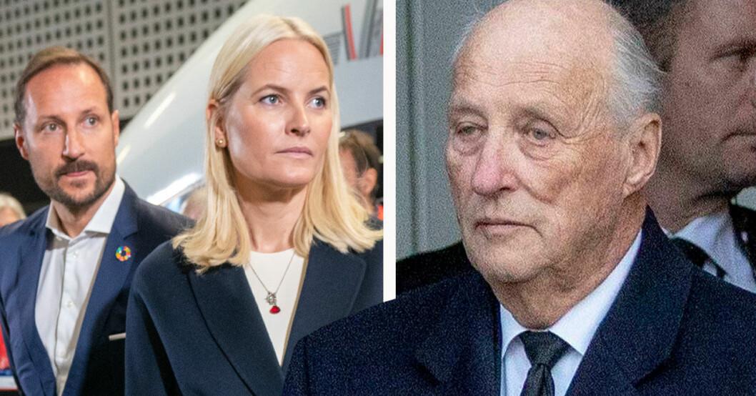 Kung Harald kronprins Haakon och Mette-Marit