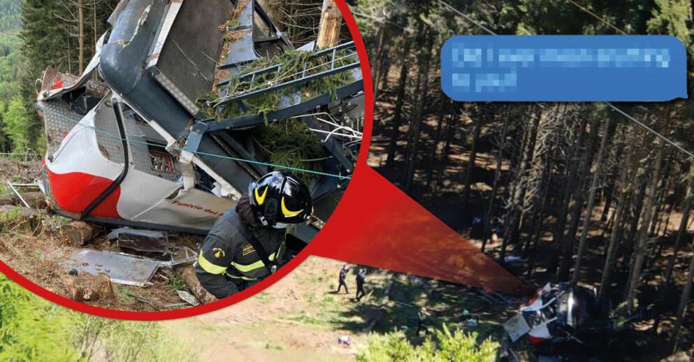 Läkarens sista sms innan den tragiska linbaneolyckan i norra Italien.