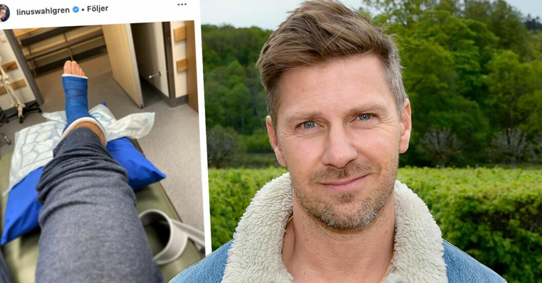 Linus Wahlgren inlagd på sjukhus – visar upp otäcka skadan