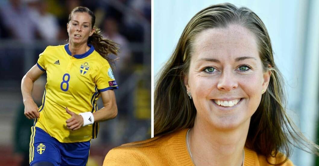 Lotta Schelin spelar fotboll i landslaget