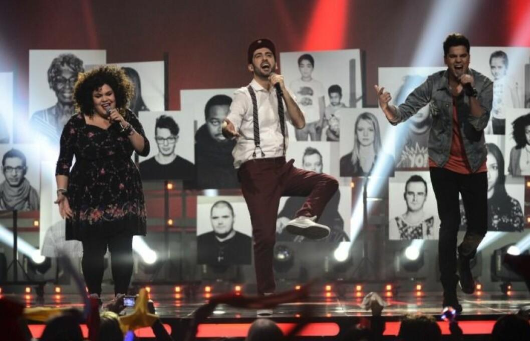 Loulou Lamotte, Behrang Miri och Oscar Zia i Melodifestivalen 2013.