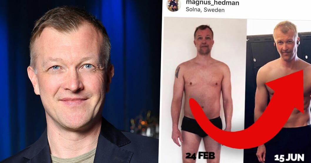 Magnus Hedman visar upp nya superkroppen