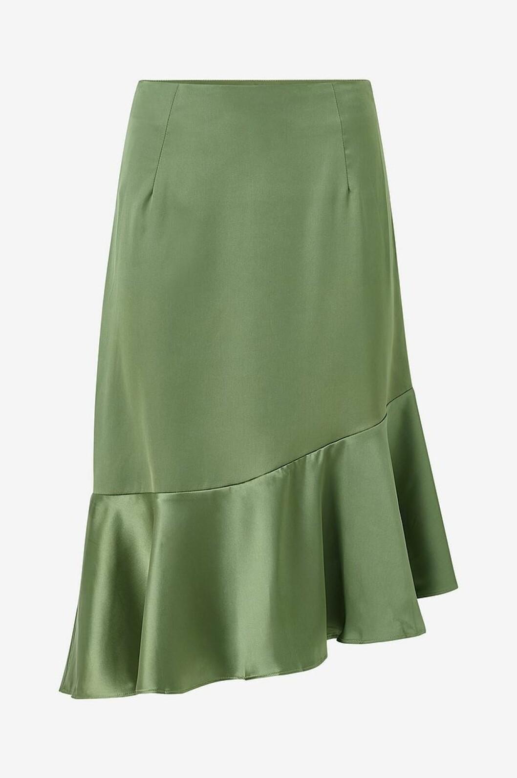 Grön kjol i vävd satin