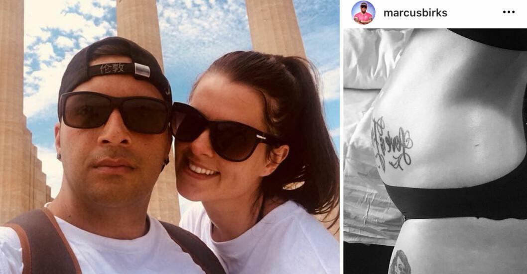 Marcus och Lis Birks var ett par i över tio år och Lis är gravid med deras första barn.