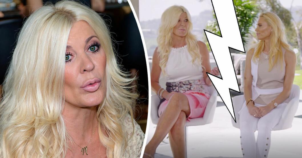 Maria Montazami blir sur när Anna Anka kritiserar Svenska Hollywoodfruar i TV3:s Svenska Hollywoodfruar – Den stora återträffen.
