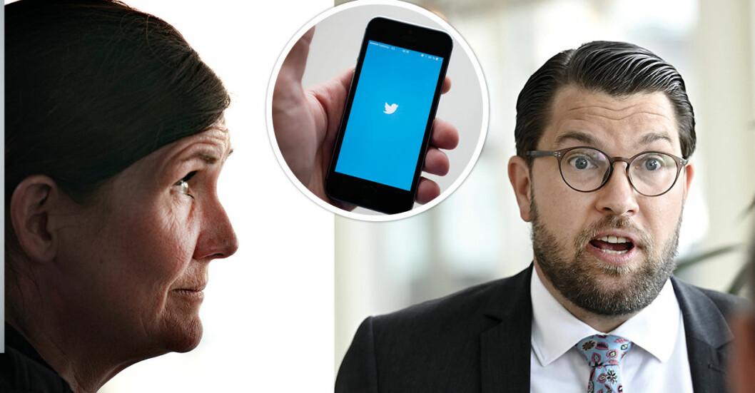 Här hånar Märta Stenevi Jimmie Åkesson.