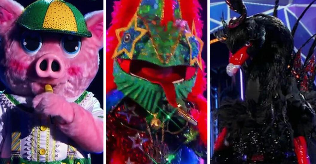 Masked Singer USA 2021, Piglet, Chameleon och Black Swan.