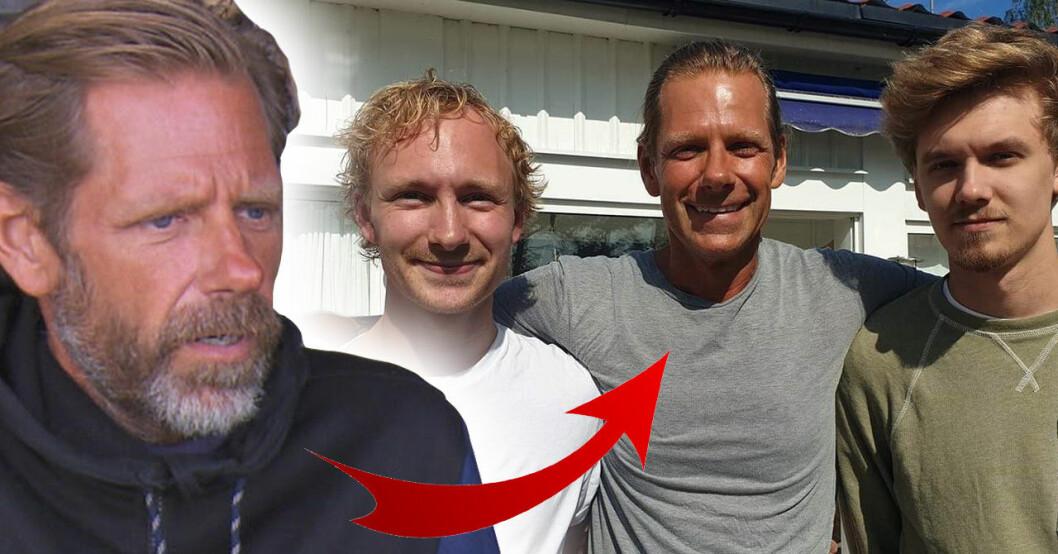 Robinson-Mattias Pettersson med sönerna Andreas och Daniel.