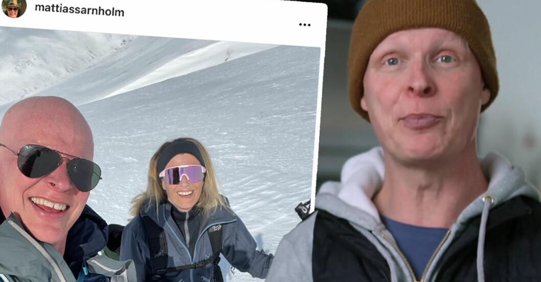Mattias Särnholm med flickvännen Stina Sjölind på Instagram 2021