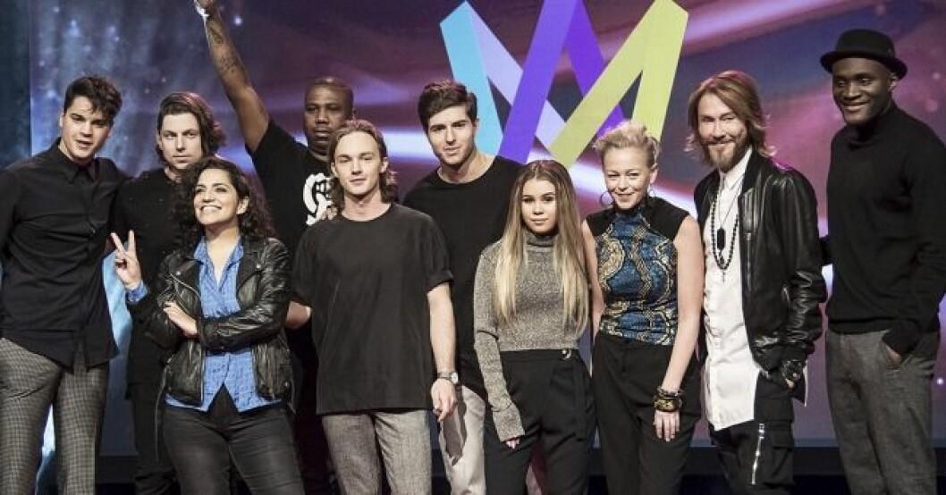 Melodifestivalen 2016, de tävlande i Norrköping. Från vänster: Oscar Zia, Swingfly feat. Helena Gutarra, SMILO, Lisa Ajax, Saraha, Christer Lindarw och Boris René.