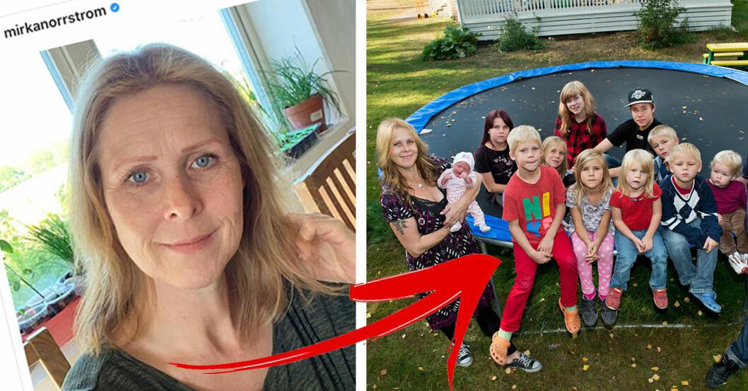 Mirka Norrström från familjen annorlunda med sina barn