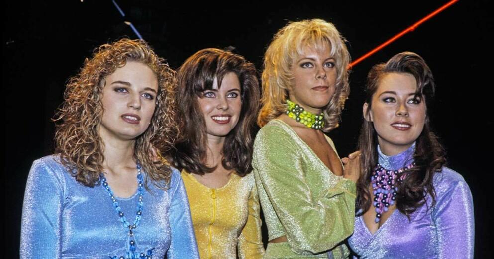 Musikgruppen Angel inför deras uppträdande i Melodifestivalen 1992