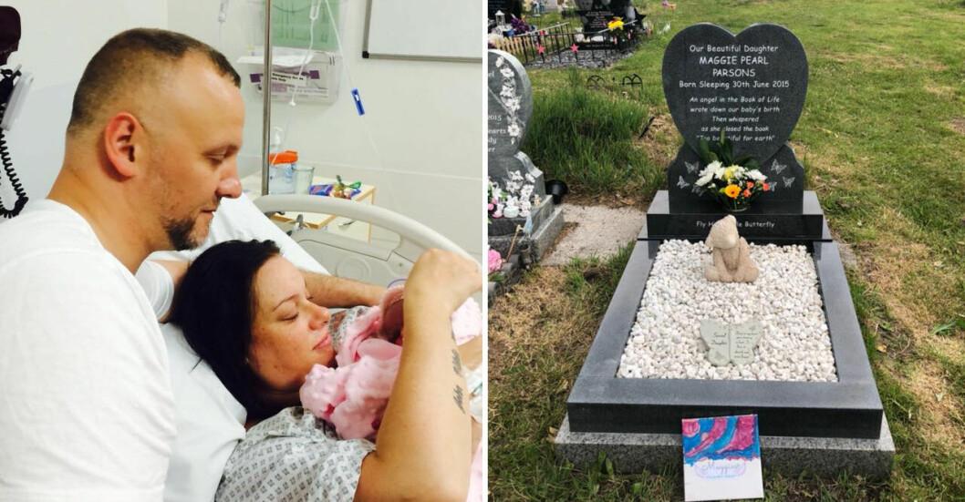 Sarahs dotter Maggie dog i magen. Bilden visar förlossningen och Maggies grav.