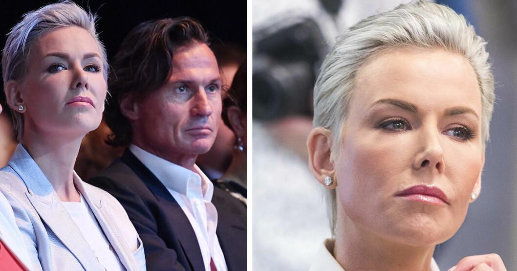Gunhild Stordalen tillsammans med maken Petter Stordalen är seriösa på ett event.