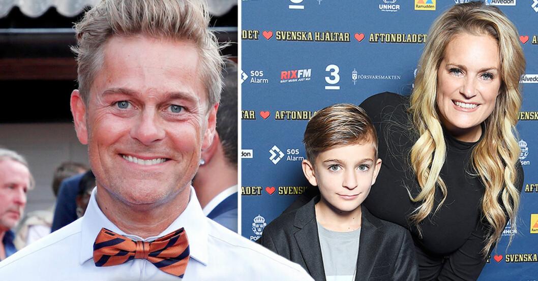 Niclas Wahlgren och sonen Kit