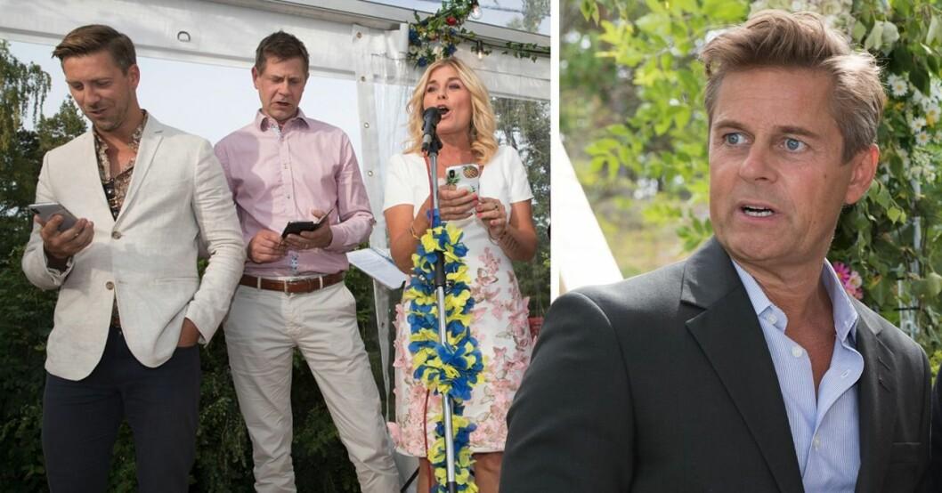 Linus Wahlgren, Peter Wahlgren och Pernilla Wahlgren sjunger. Niclas Wahlgren