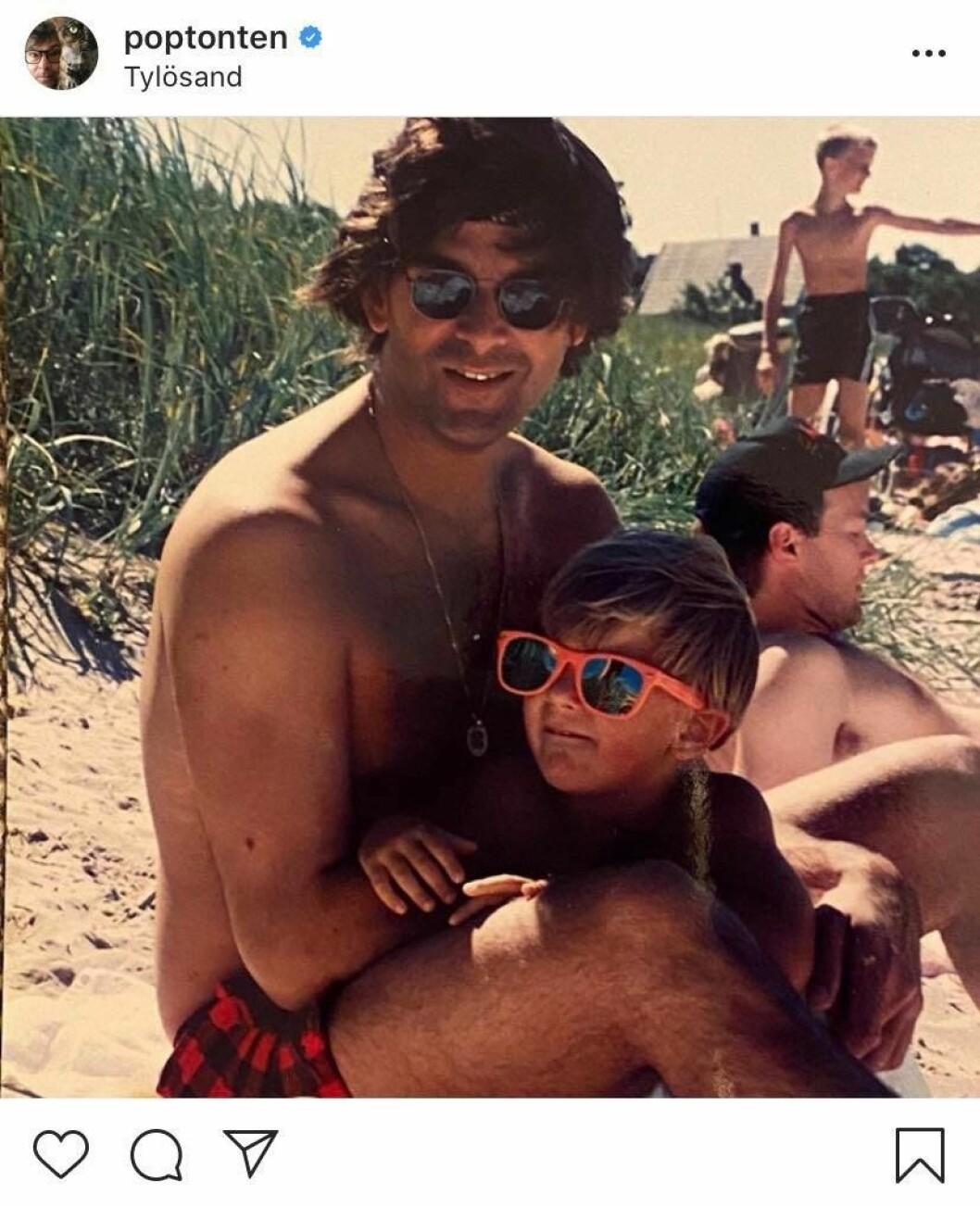 Niklas Strömstedt på Instagram grattar sin son