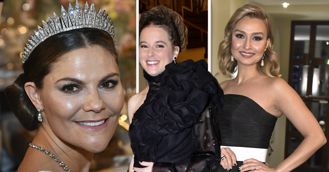 prinsessan Victoria, Amanda Lind och Ebba Busch Thor på Nobelfesten 2019.