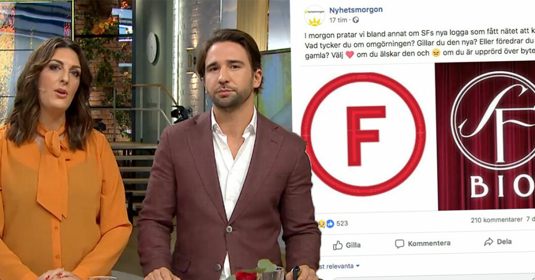 Tittarna rasar efter inslaget om SF:s nya logga i Nyhetsmorgon