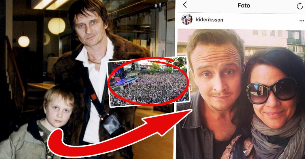 Kid Eriksson, son till Sofia Wistam och Orup, gjorde succé med sin hiphop-grupp Tjuvjakt på Gröna Lund 2018.