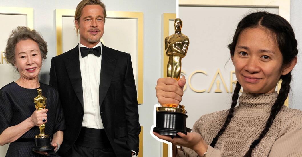 Brad Pitt, Yuh-Jung Youn & Chloé Zhao poserar på röda mattan Oscarsgalan 2021.
