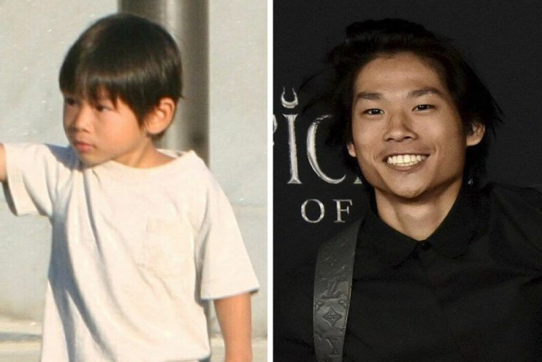 En bild när han är barn och en n'r han är 16 år