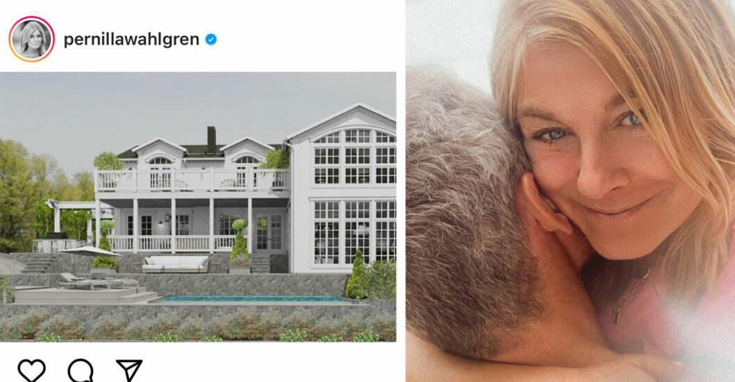 Pernilla Wahlgrens nya hus och Christian Bauer.