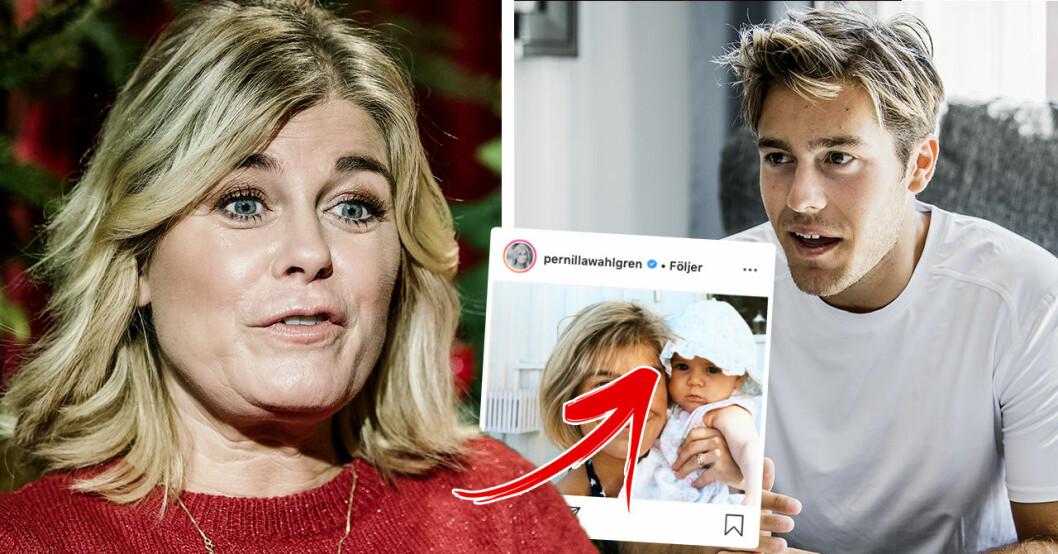 Detaljen i okända bilden på Pernilla Wahlgren förvirrar fansen