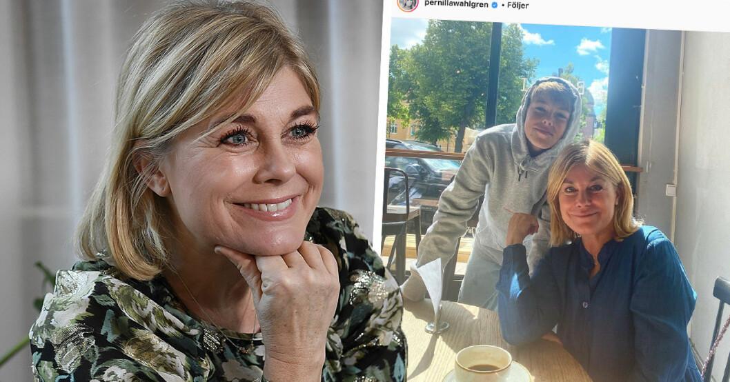 Följarna häpnar efter upptäckten i Pernilla Wahlgrens nya bild på sonen Theo
