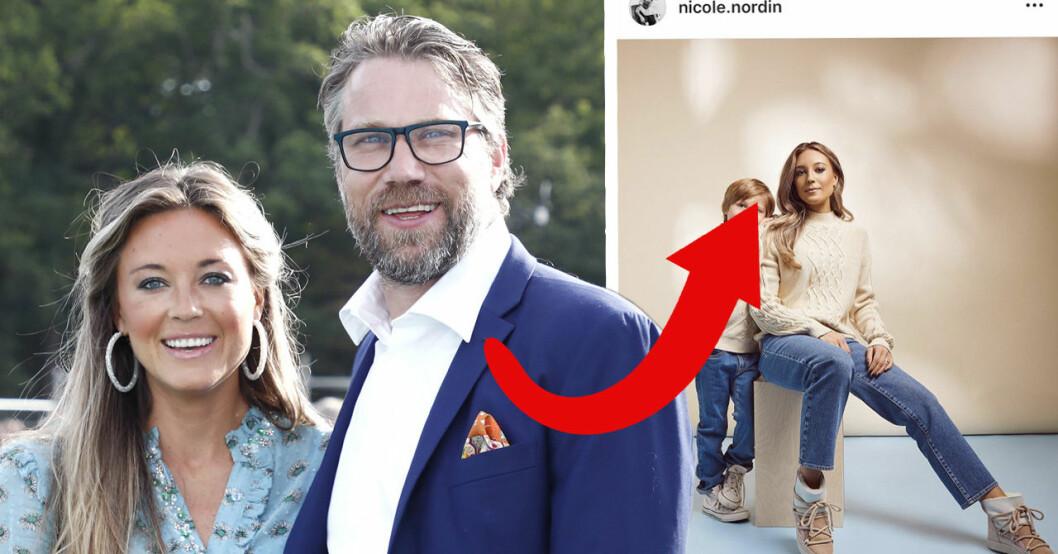 """Nicole Nordins nya bild med sonen Lennox får följarna att häpna. De tycker han är väldigt lik pappa Peter """"Foppa"""" Forsberg."""