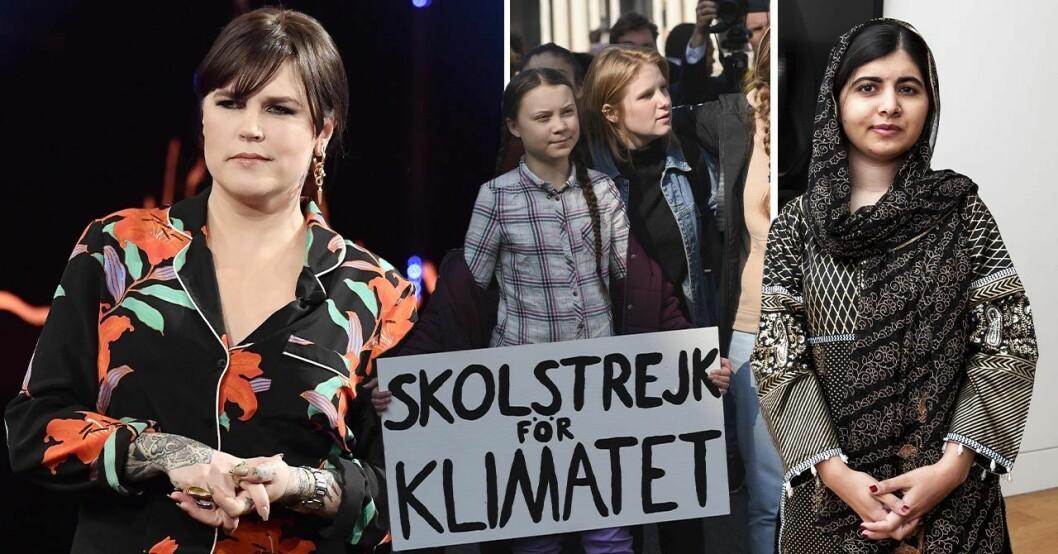 Mia Skäringer och Greta Thunberg tittar in i kameran