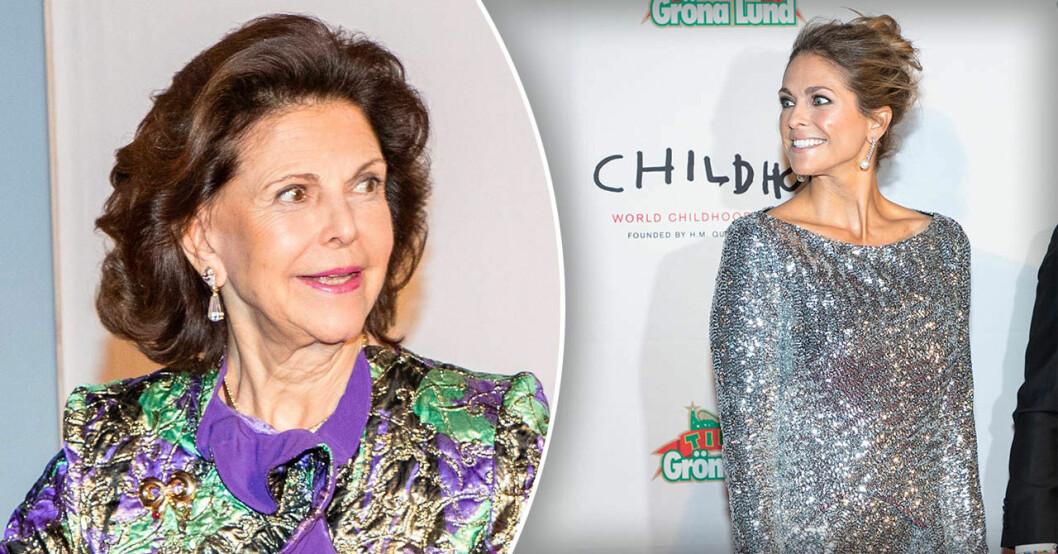 Prinsessan Madeleine och drottning Silvia vid Childhoods insamlingsmiddag