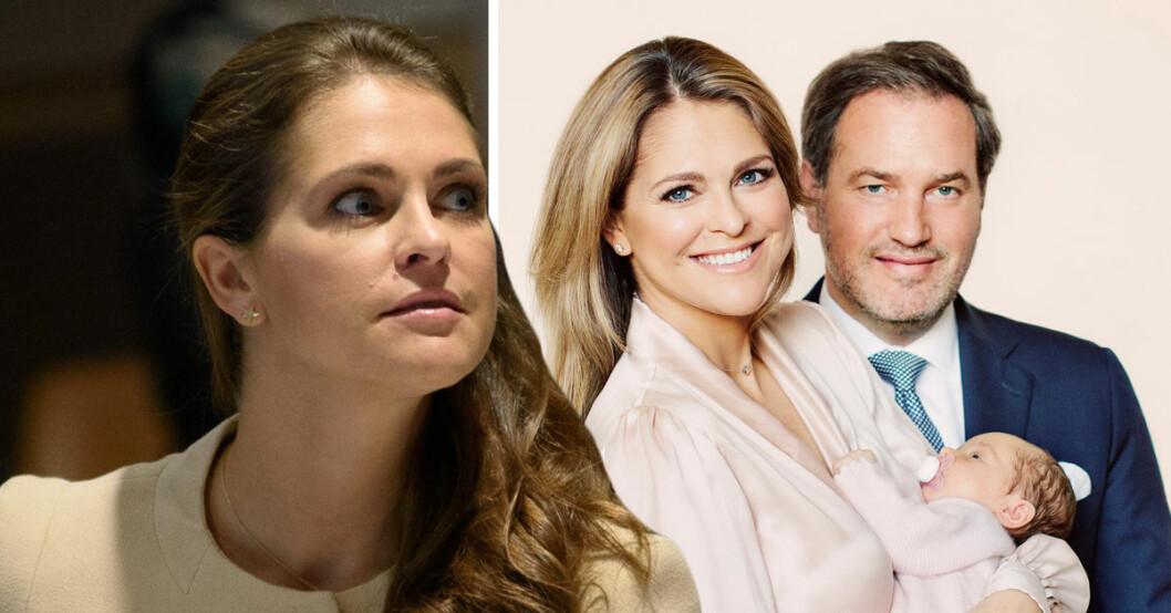 Prinsessan Madeleine, Chris O'Neill och nyfödda dottern Adrienne.