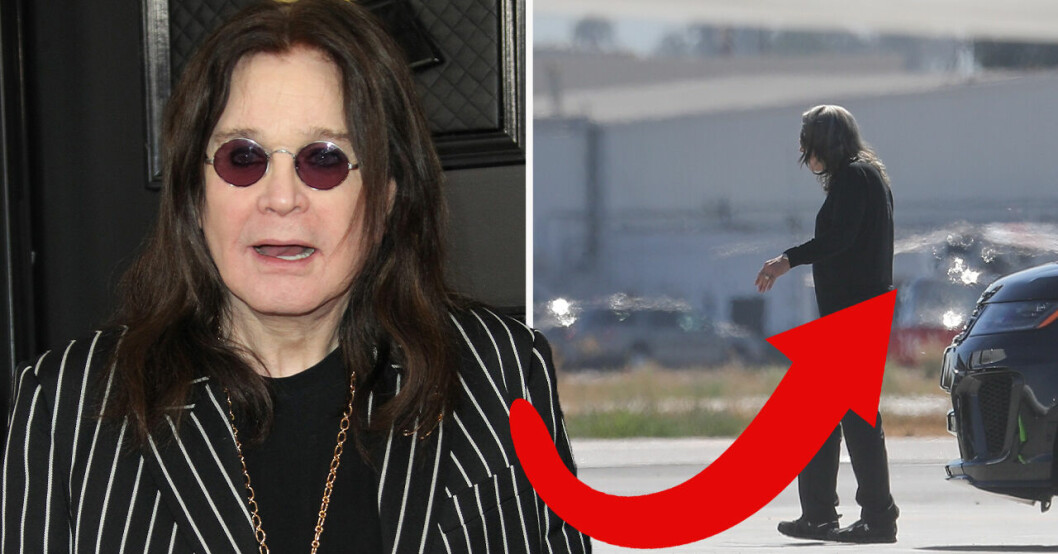Ozzy Osbourne svart kavaj med vita streck.