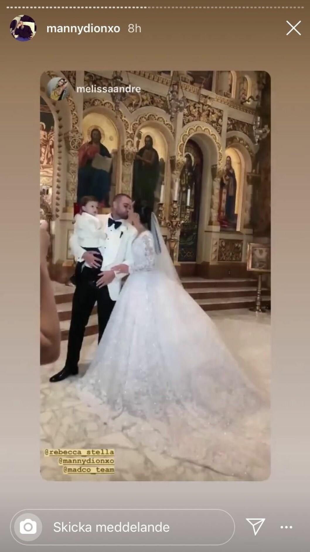 Rebecca Stella, Manny Dion och sonen Dion efter bröllopet