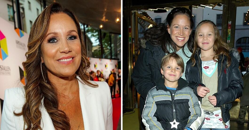 Renée Nyberg med barnen Emma och Tom
